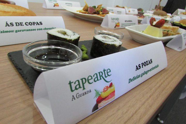 As Pozas. Delicias galego-orientales. Sushi de chocos na súa tinta e sushi de setas con grelos