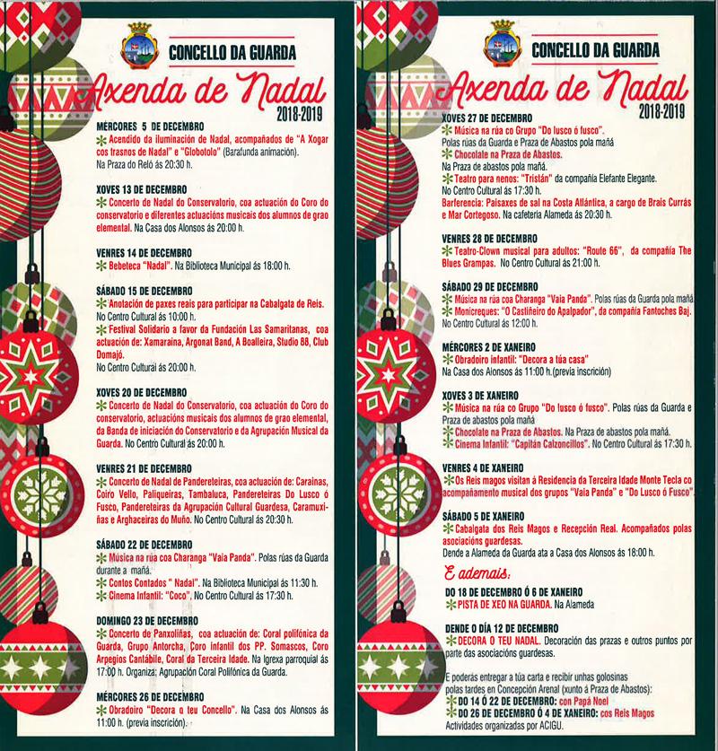 """Teatro, animación musical por las calles, conciertos de """"panxoliñas"""", talleres de decoración, chocolatadas, pista de hielo, o la Cabalgata de Reyes, son algunas de las actividades previstas desde el 5 de diciembre hasta el 6 de Enero, un mes en el que A Guarda vivirá en la magia de la Navidad."""