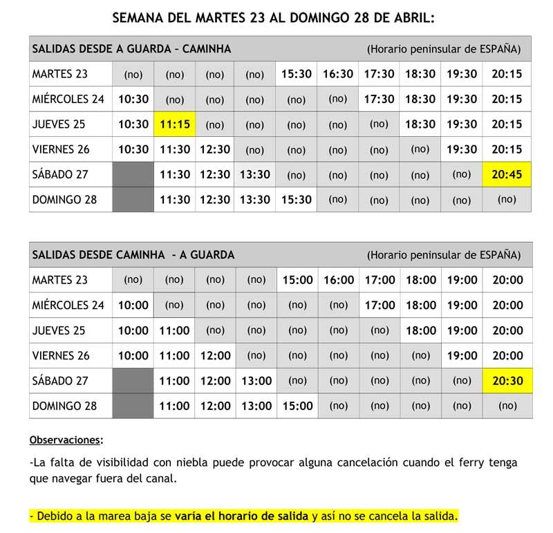 Horario semanal del ferry A Guarda – Caminha del martes 23 al domingo 28 de abril