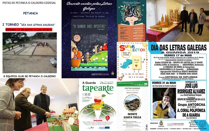 Fin de semana marcado por la celebración de las Letras Gallegas, el Día Internacional de los Museos en A Guarda y el inicio de la Ruta gastronómica Tapearte, con muchas actividades para pequeños y mayores.